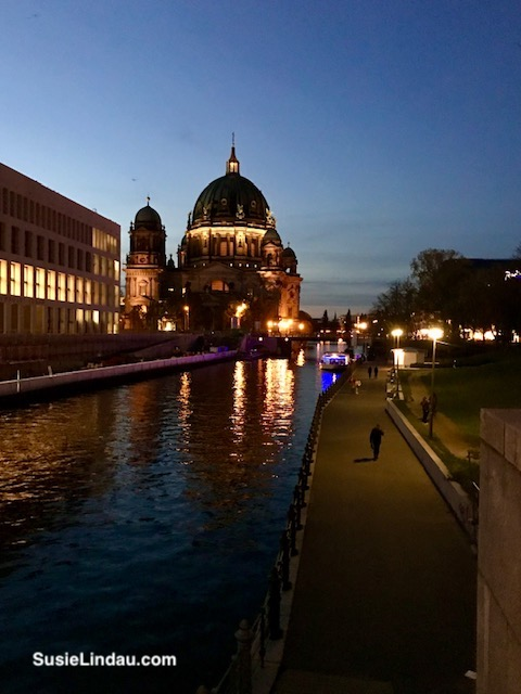 Berlin at night along the River Spree