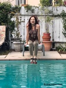 Enjoying an Airbnb poolside in California