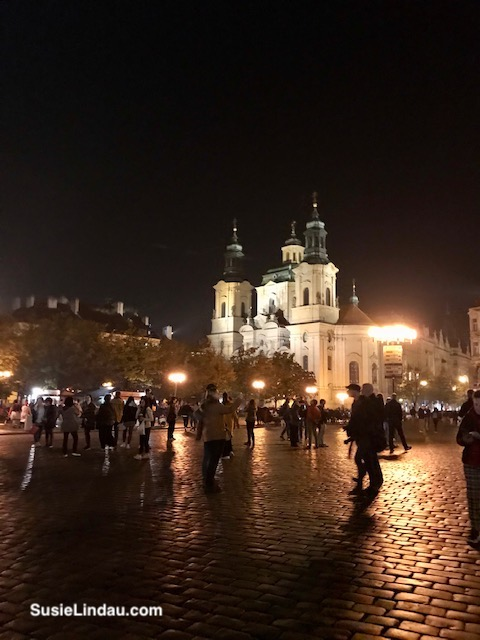 Prague Square at night
