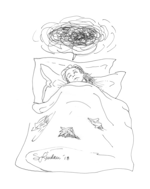 a self-portrait drawing of being sick in bed