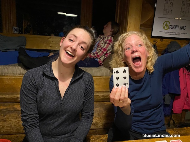 Fun playing cards in Francie's Cabin