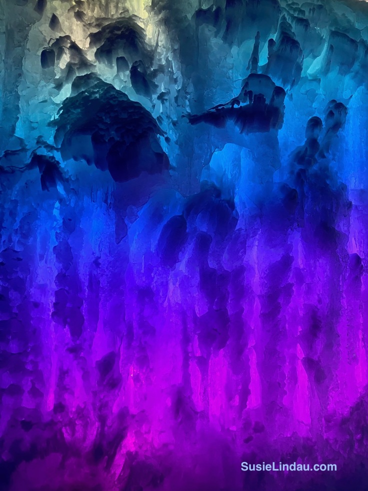 ice castle in pink blue and turquoise
