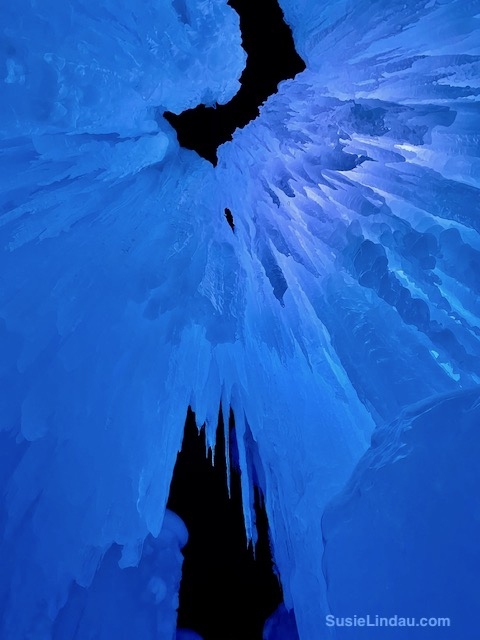 Ice Castles 14 - spikes of ice in blue overhead