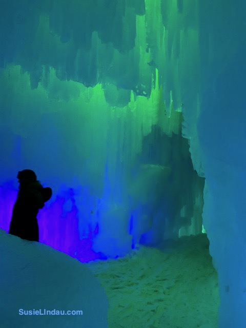 Ice Castles 6 - Green and blue glowing ice room