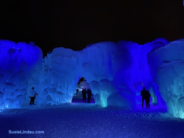 Ice Castles 9 A view from the ballroom or plaza of an ice castle surrounded by ice rooms in Dillon, Colorado