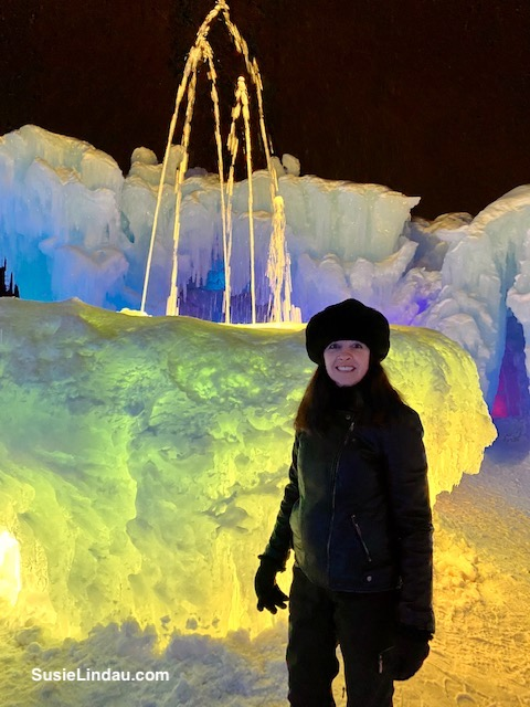 Ice Castles fountain in Dillon Colorado in hues of lemon yellow