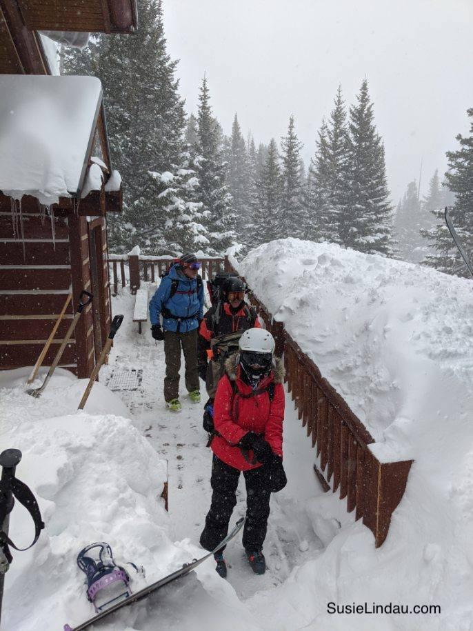 Leaving Francie's Cabin in the snow