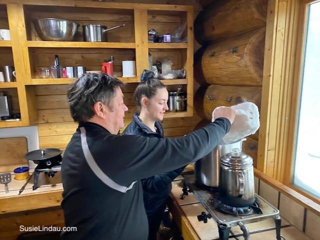 Making Breakfast in the hut