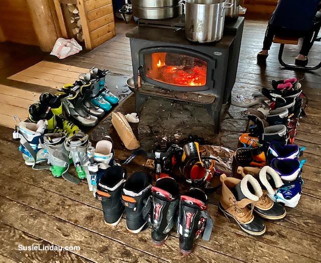 Ski boots around the woodstove