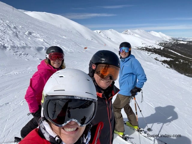 skiing Breck with friends at the top of Peak 8