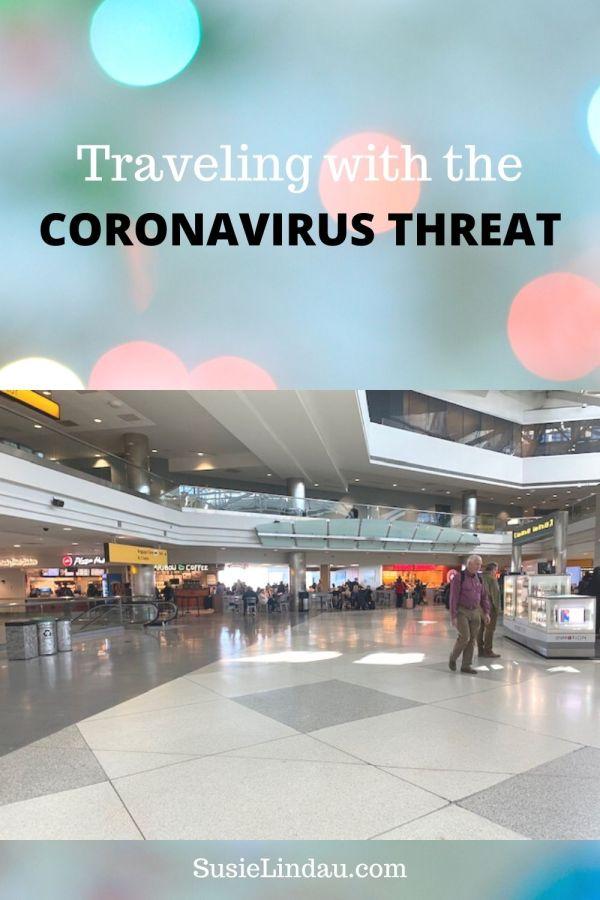 Traveling with the CORONAVIRUS THREAT PINTEREST PIN of airport