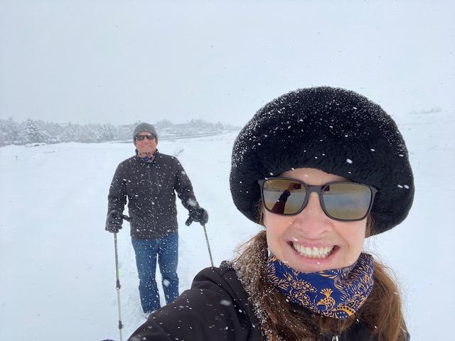 Selfie of Danny and me skiing in the neighborhood