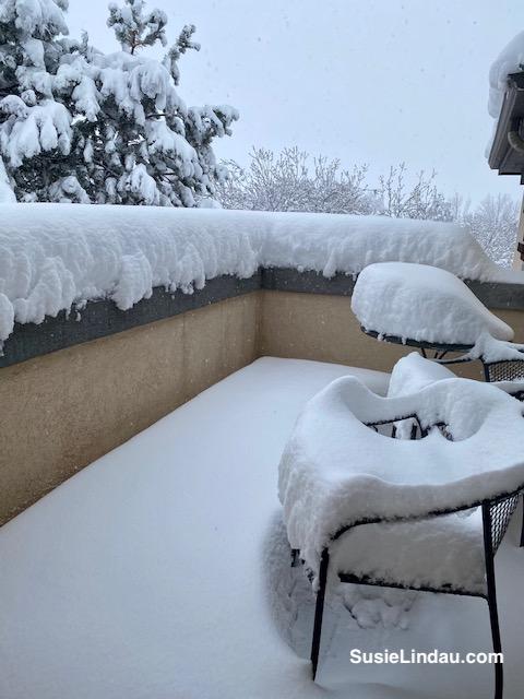 Snowy porch in Colorado under 12 inches