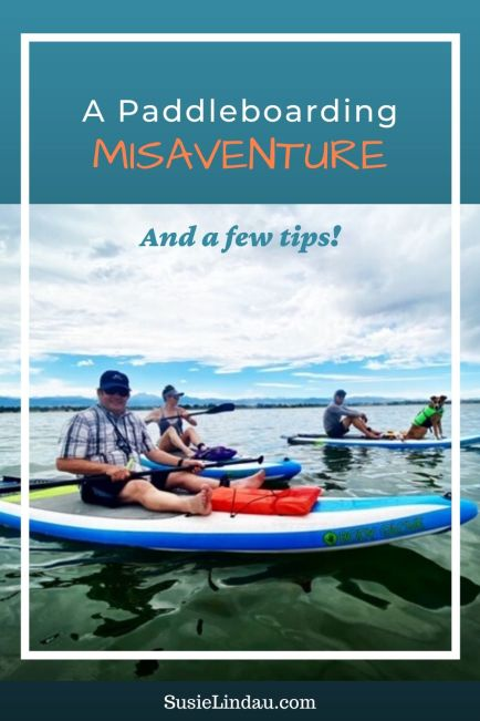 A Paddleboarding Misadventure and a Few Tips! Pinterest pin with family paddleboarding. Dog on a paddleboard.