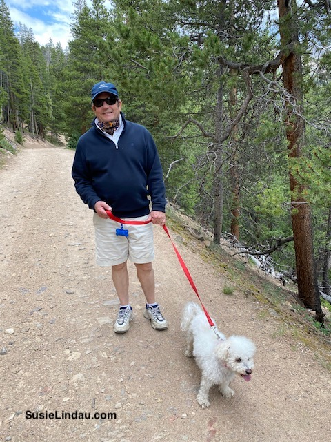 Danny Lindau and our Bichon Roxy on Baldy Trail
