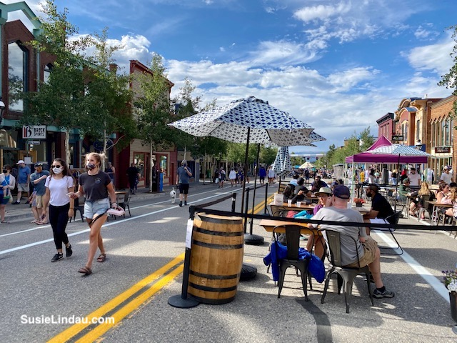 Spacious outdoor seating on Main Street in Breckenridge