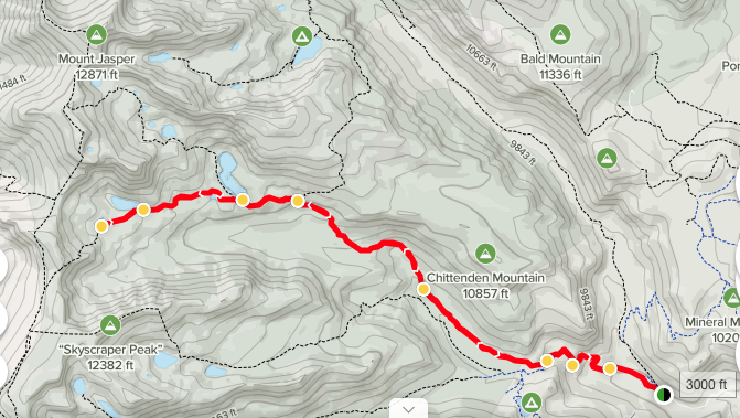 Topo map from Hesse Trailhead to Devil's Thumb Lake