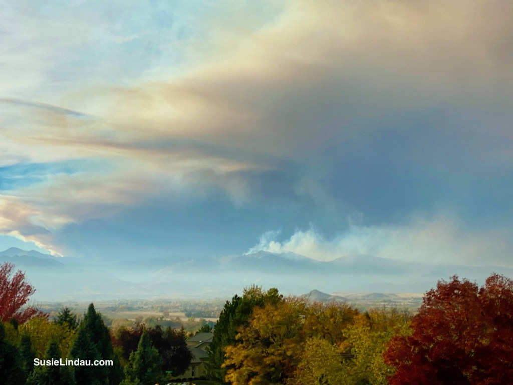 East Troublesome and CalWood Fires - Billowing smoke rises from the foothills
