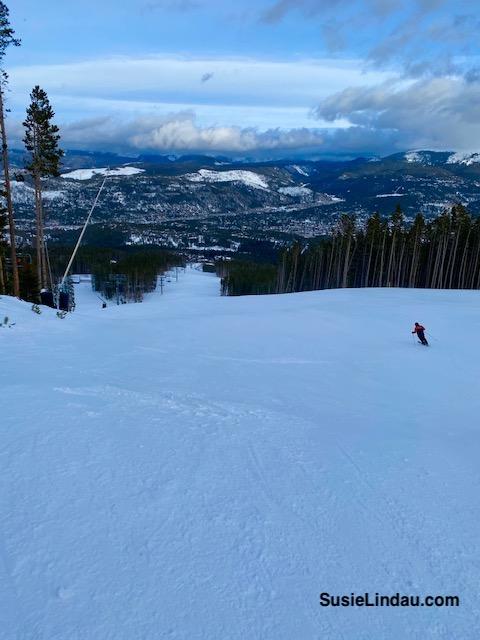 Skiing down Peak 7 at Breckenridge