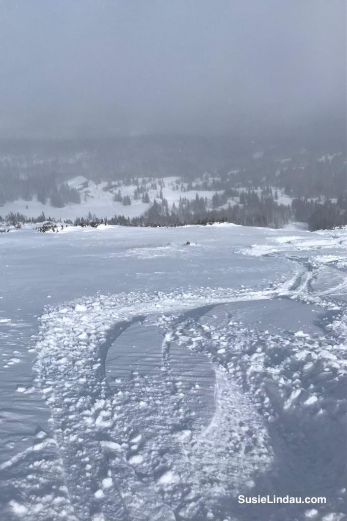 Fresh tracks in deep snow at Breckenridge Ski Resort