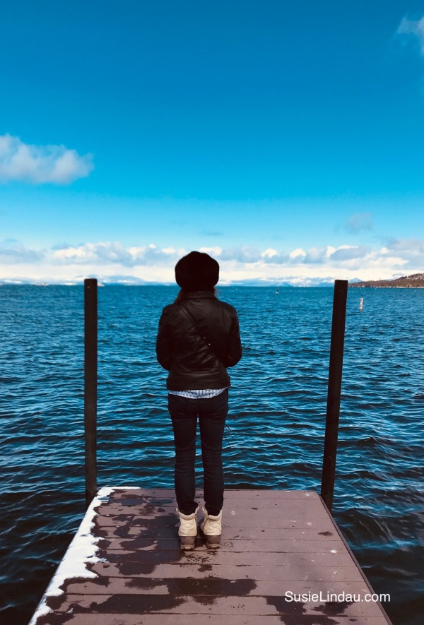 Susie Lindau on Lake Tahoe Pier contemplating deep thoughts.