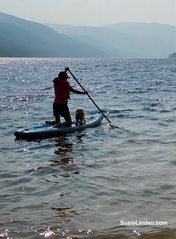 Balancing on a paddle board with my dog while summer slacking